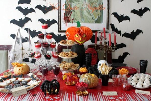 Imagen de una mesa decorada para halloween