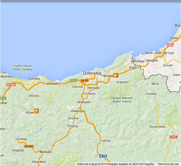 Mapa de las tiendas de Cocinas.com en Guipuzcoa