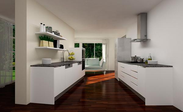 Imagen del modelo de cocina paralela con puerta Laminada T-1 blanca numero 7902 de Cocinas.com