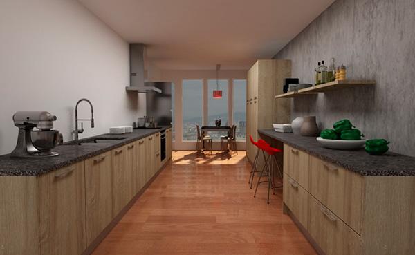 Imagen de la cocina paralela 11503 con puerta Bardolino de Cocinas.com