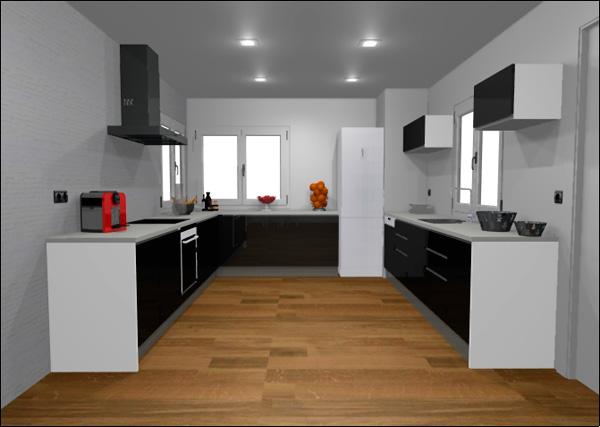 Imagen del modelo 14326 en forma de U con puerta ecolux t-1 negra de Cocinas.com