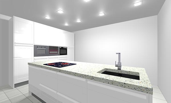 Cocina con puerta Monaco blanco Brillo de Cocinas.com.