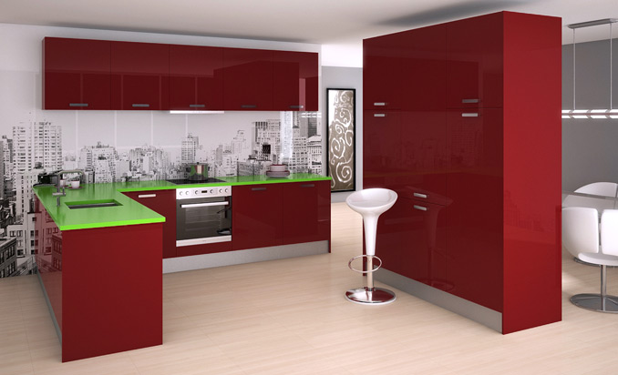 Módulos de cocina atrevidos de color rojo